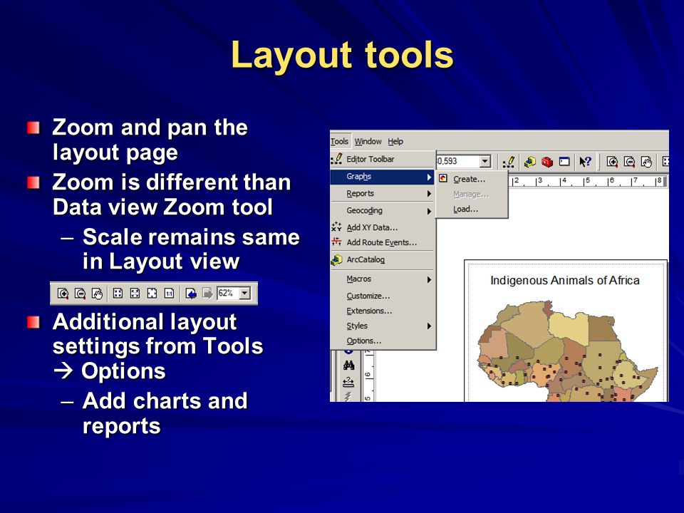 Layout tools Zoom and pan the layout page