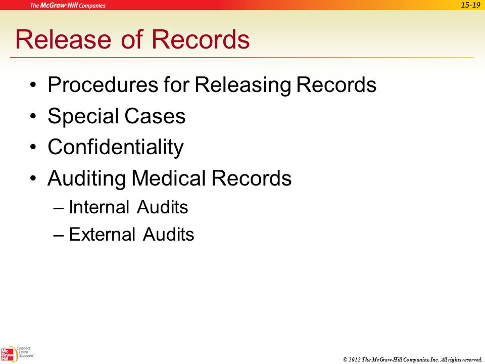 Release of Records Procedures for Releasing Records Special Cases