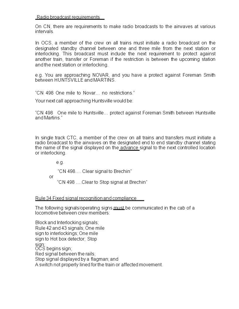 Radio broadcast requirements