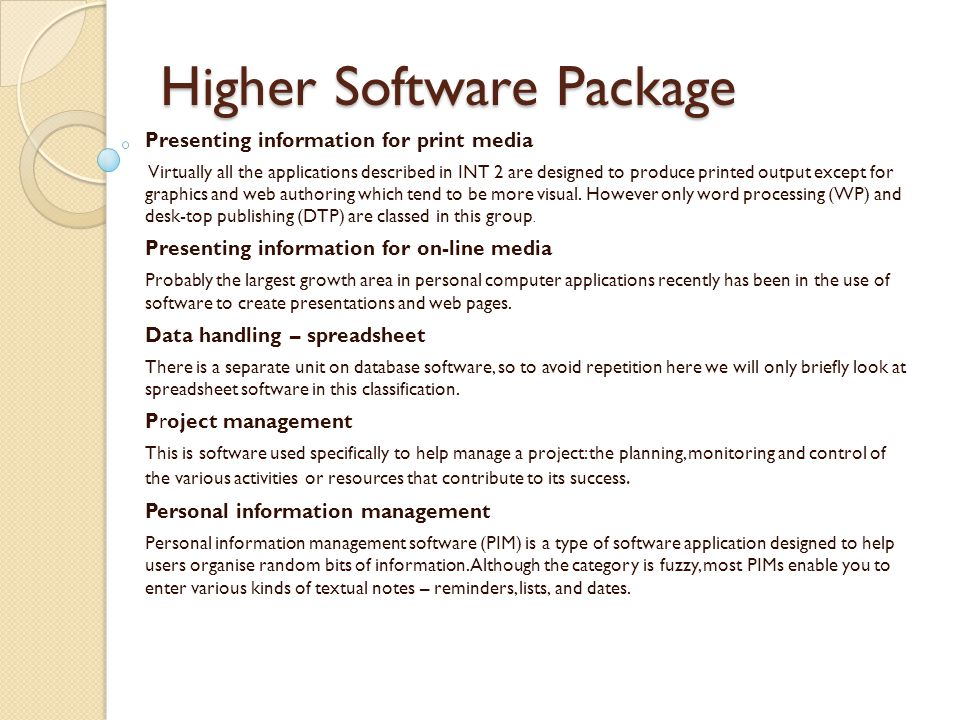Higher Software Package