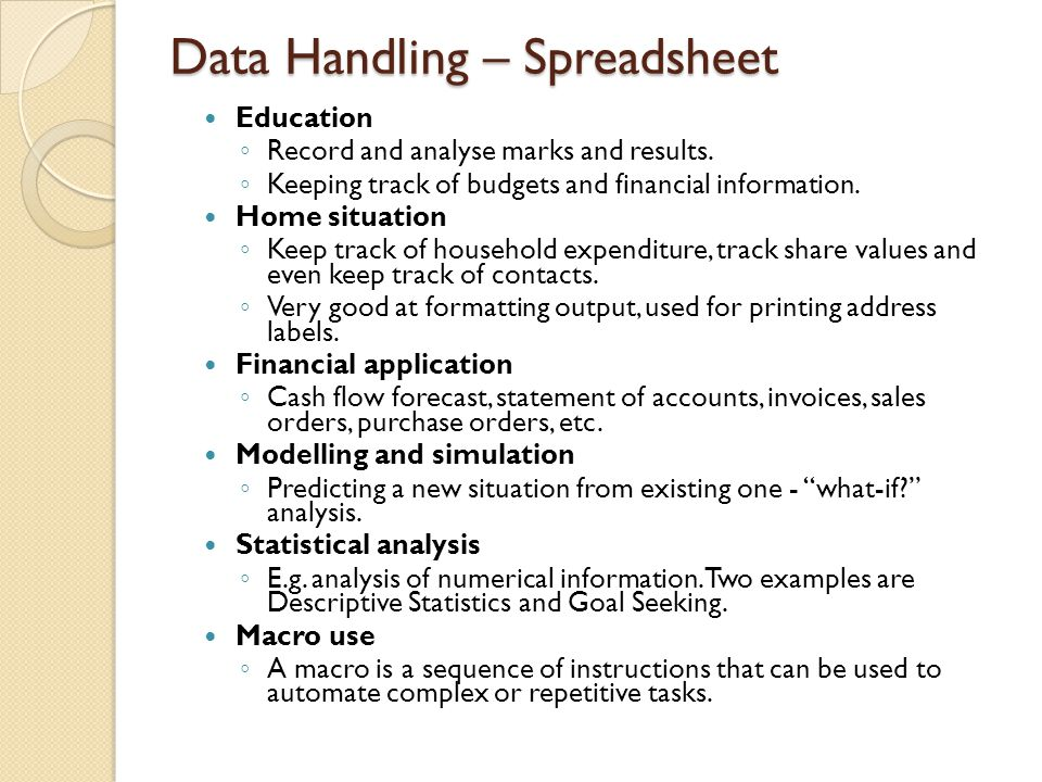 Data Handling – Spreadsheet