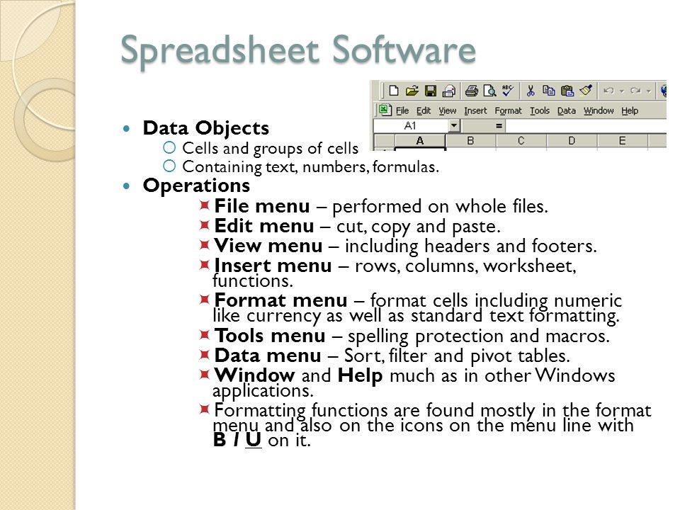 Spreadsheet Software Data Objects Operations