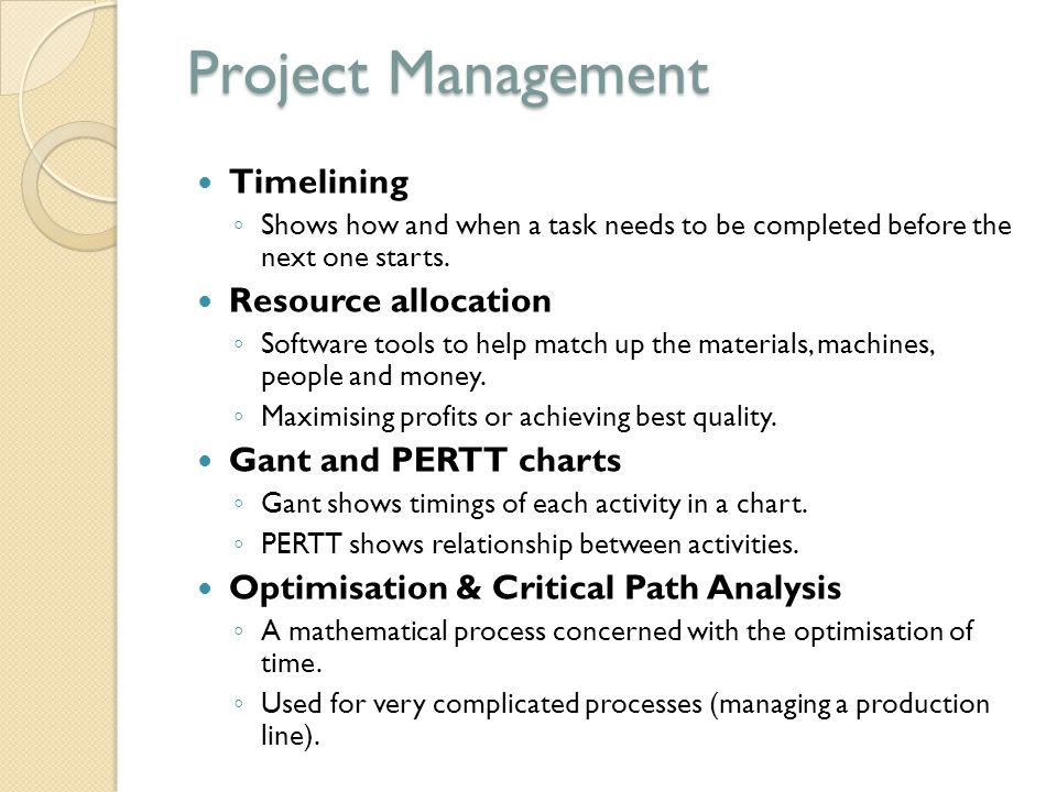 Project Management Timelining Resource allocation