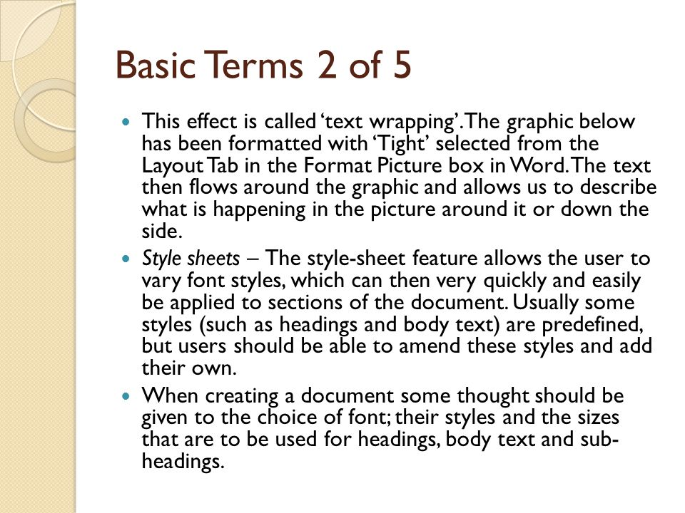 Basic Terms 2 of 5