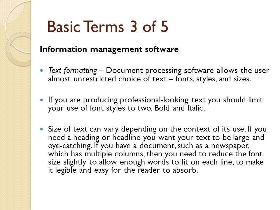 Basic Terms 3 of 5 Information management software
