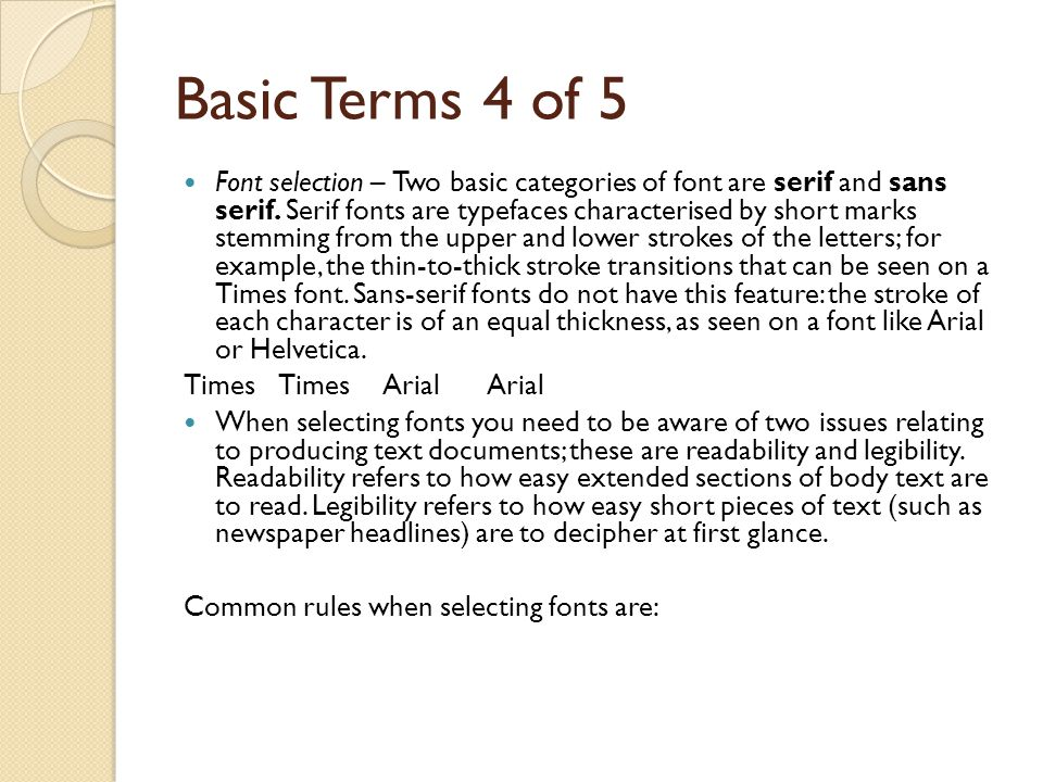 Basic Terms 4 of 5