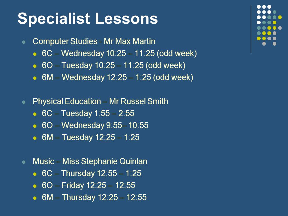 Specialist Lessons Computer Studies - Mr Max Martin