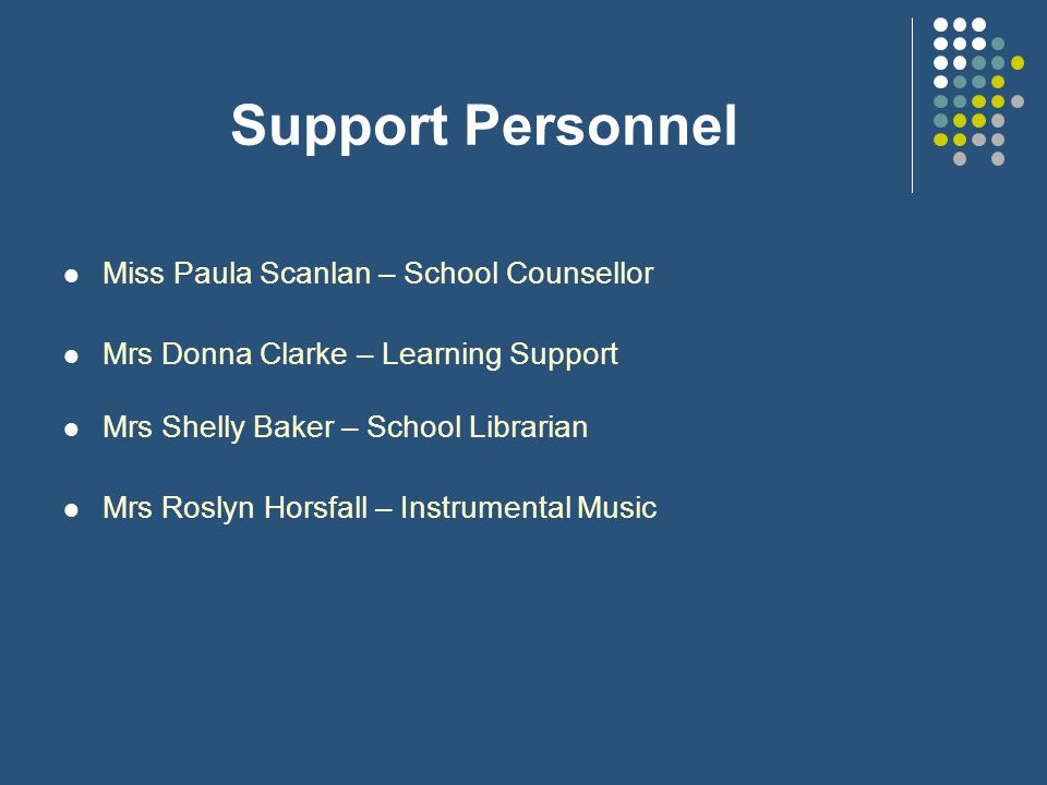 Support Personnel Miss Paula Scanlan – School Counsellor