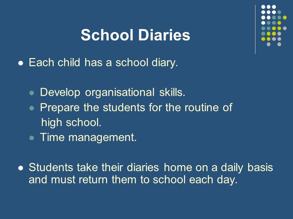 School Diaries Each child has a school diary.