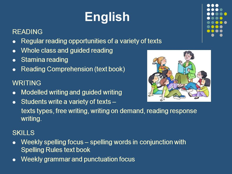 English READING Regular reading opportunities of a variety of texts