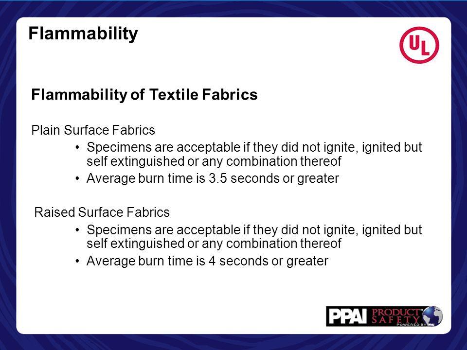 Flammability Flammability of Textile Fabrics Plain Surface Fabrics
