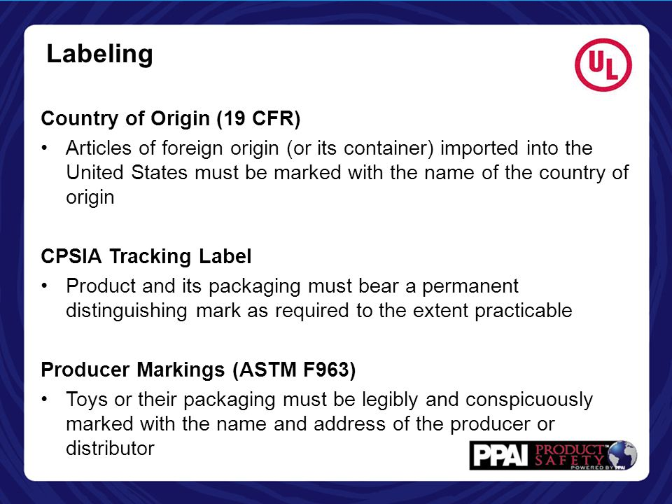 Labeling Country of Origin (19 CFR)