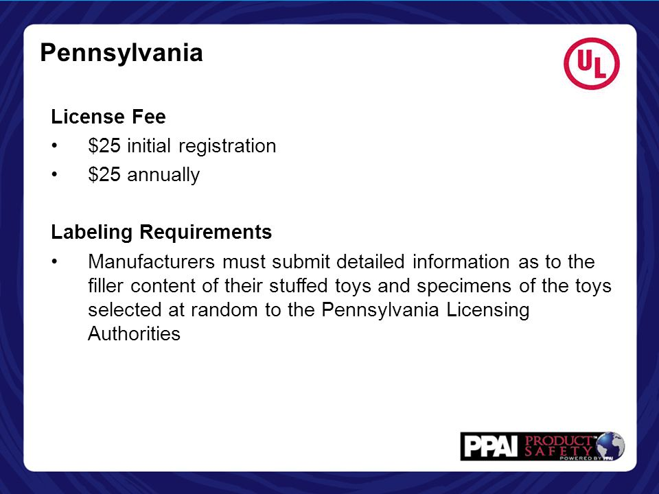 Pennsylvania License Fee $25 initial registration $25 annually