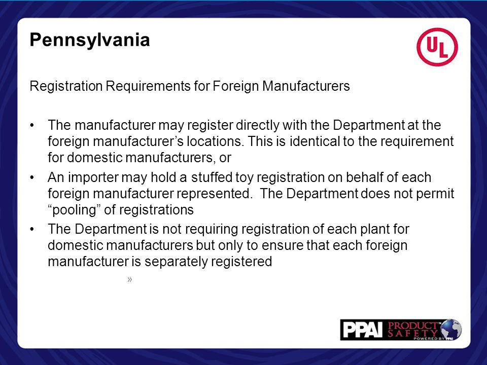 Pennsylvania Registration Requirements for Foreign Manufacturers