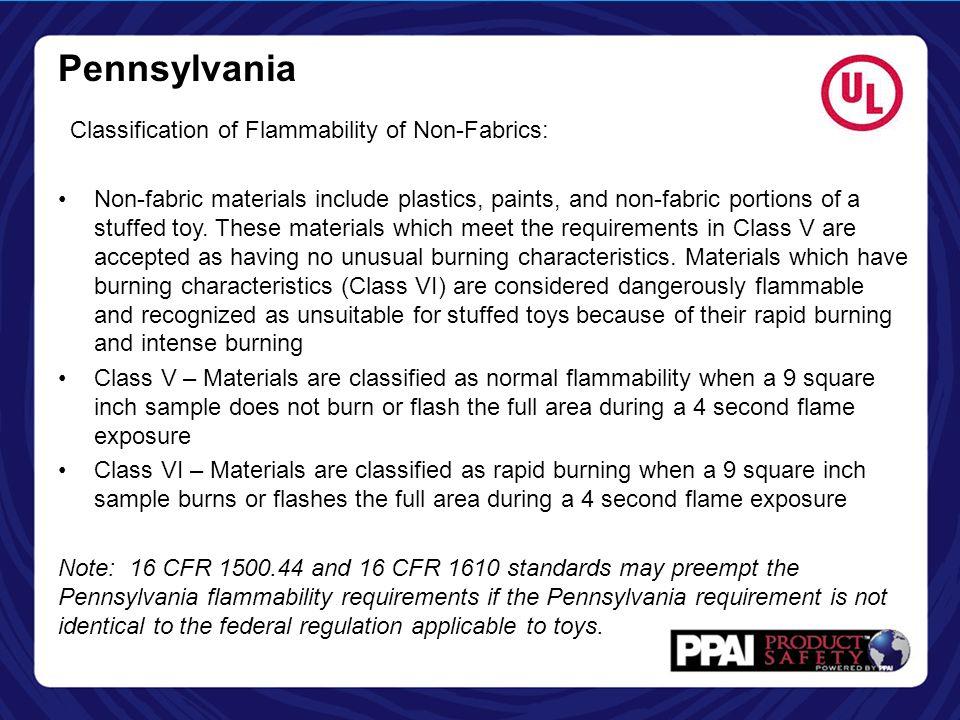 Pennsylvania Classification of Flammability of Non-Fabrics: