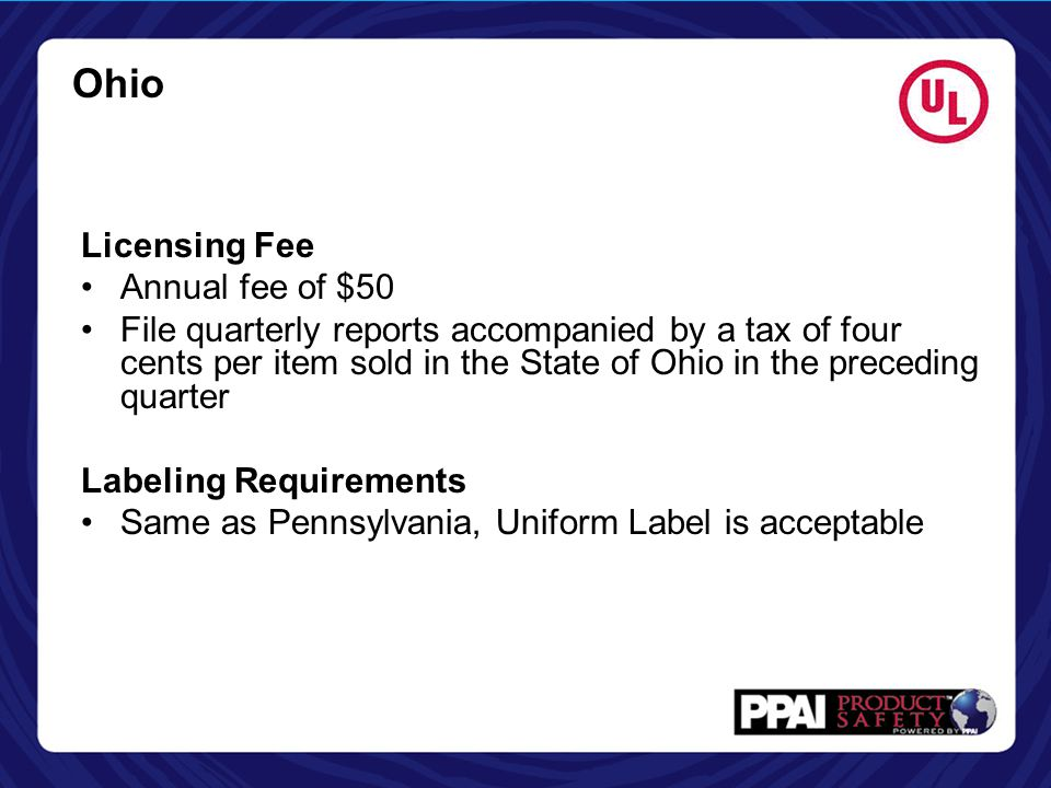 Ohio Licensing Fee Annual fee of $50