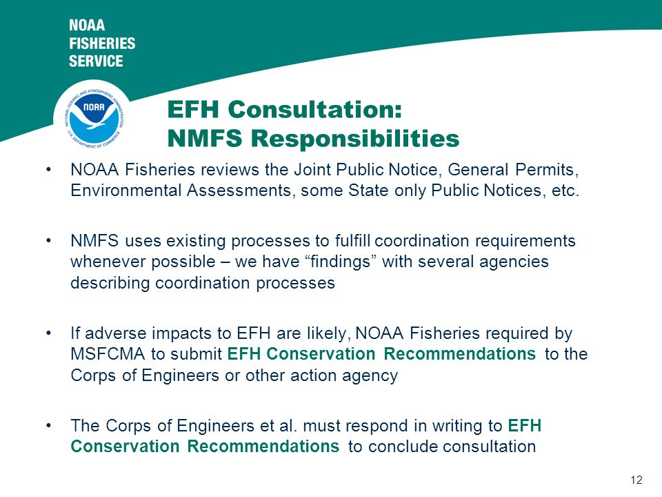 EFH Consultation: NMFS Responsibilities