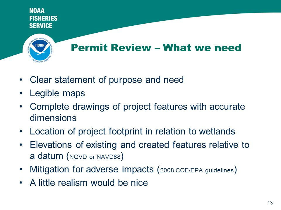 Permit Review – What we need