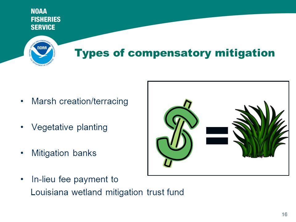 Types of compensatory mitigation