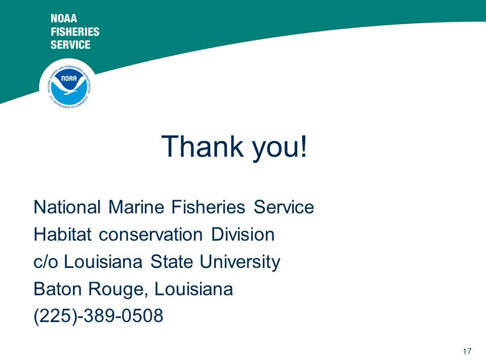 Thank you! National Marine Fisheries Service