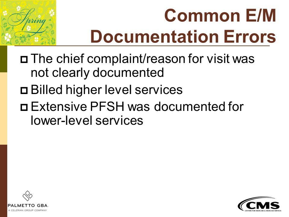 Common E/M Documentation Errors