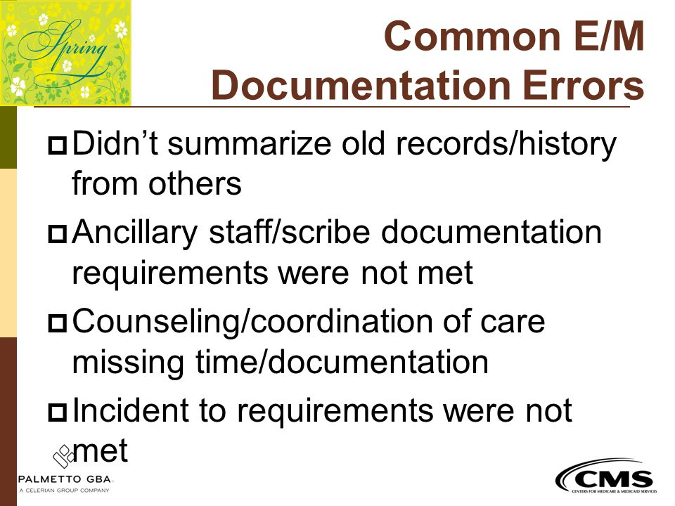 Common E/M Documentation Errors
