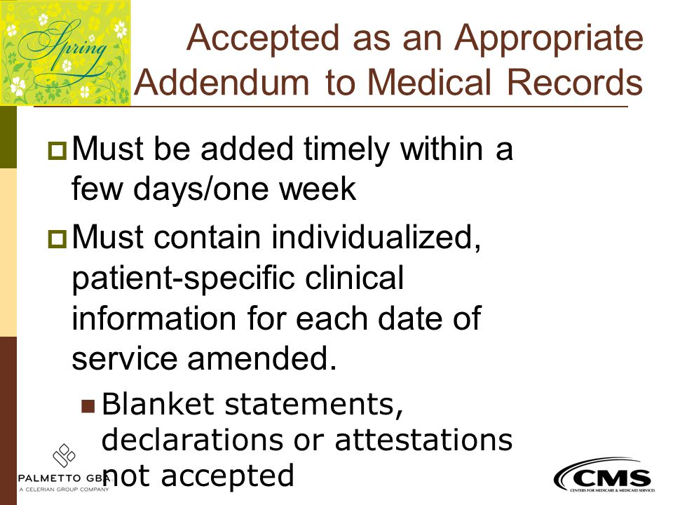 Accepted as an Appropriate Addendum to Medical Records