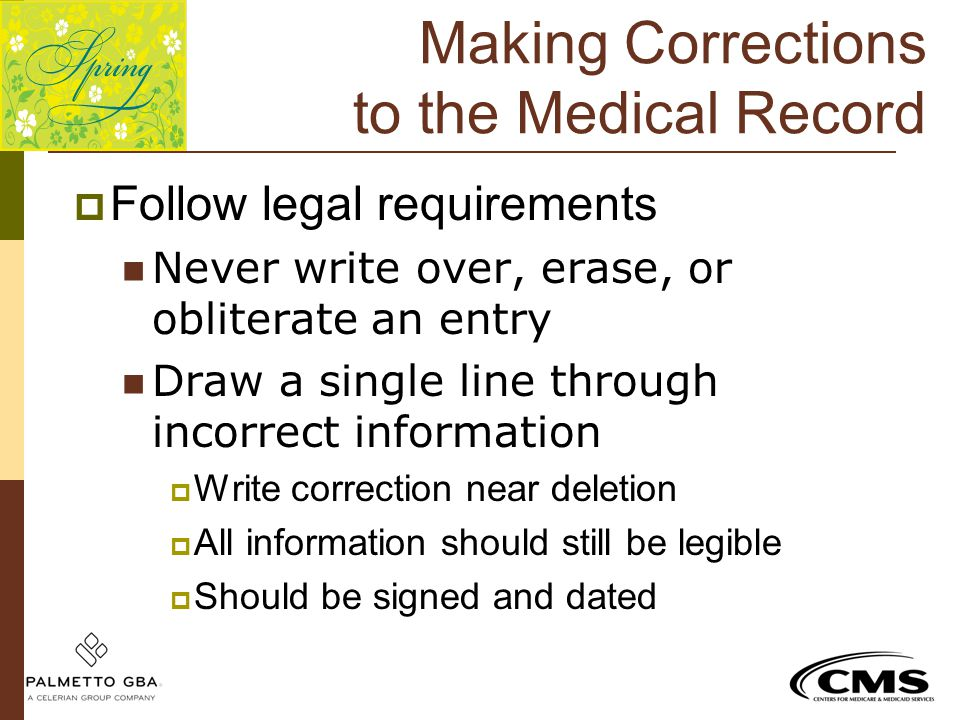 Making Corrections to the Medical Record
