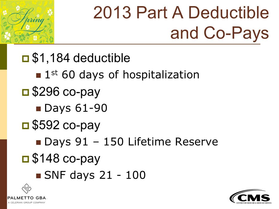 2013 Part A Deductible and Co-Pays