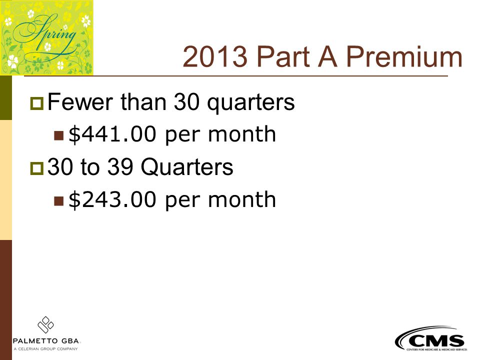 2013 Part A Premium Fewer than 30 quarters 30 to 39 Quarters