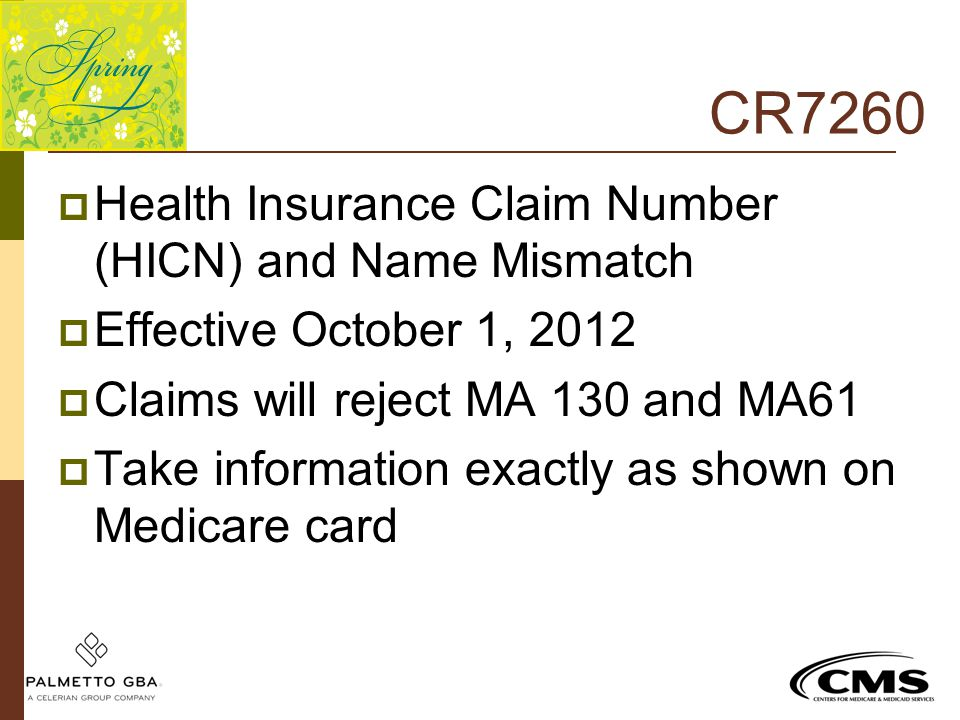 CR7260 Health Insurance Claim Number (HICN) and Name Mismatch