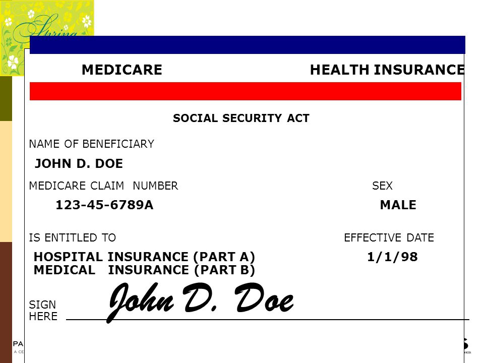 John D. Doe MEDICARE HEALTH INSURANCE JOHN D. DOE 123-45-6789A MALE