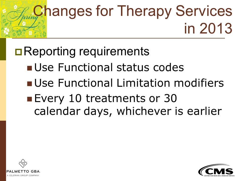 Changes for Therapy Services in 2013