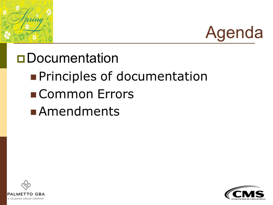 Agenda Documentation Principles of documentation Common Errors
