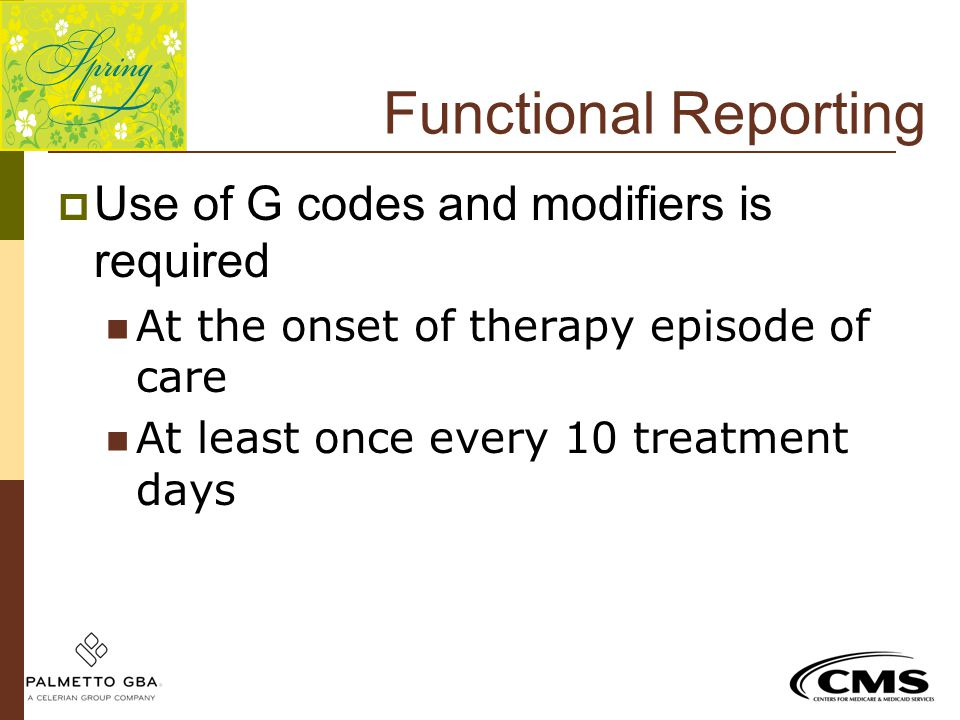 Functional Reporting Use of G codes and modifiers is required