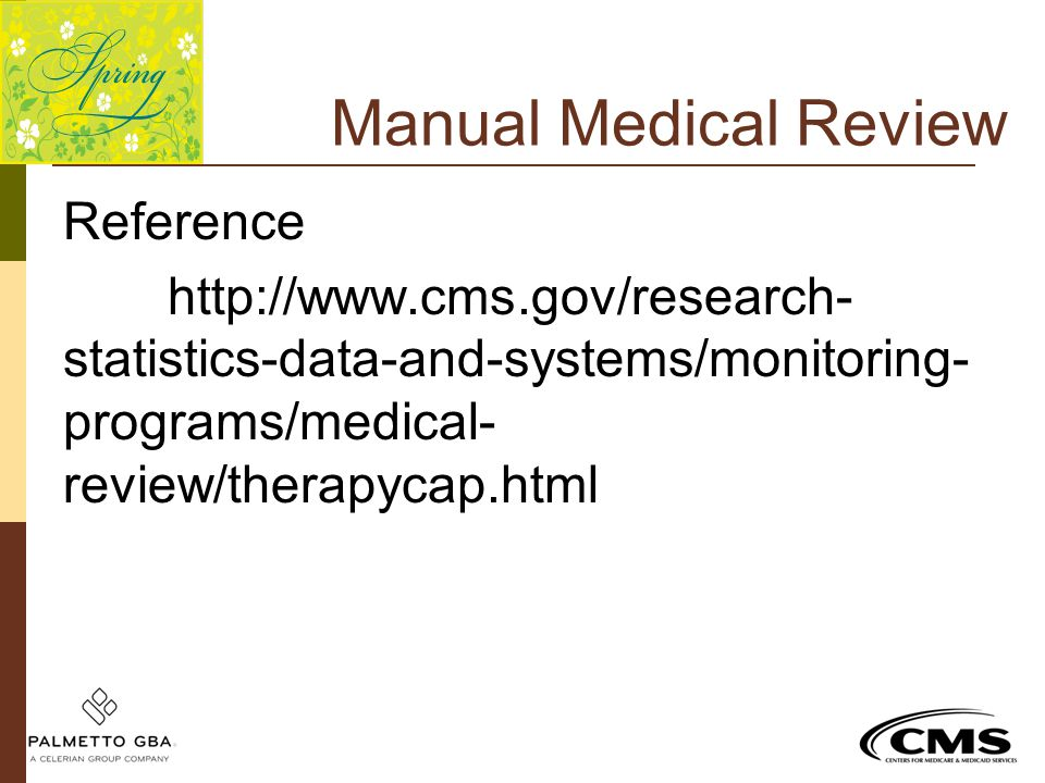 Manual Medical Review Reference http://www.cms.gov/research-statistics-data-and-systems/monitoring-programs/medical-review/therapycap.html