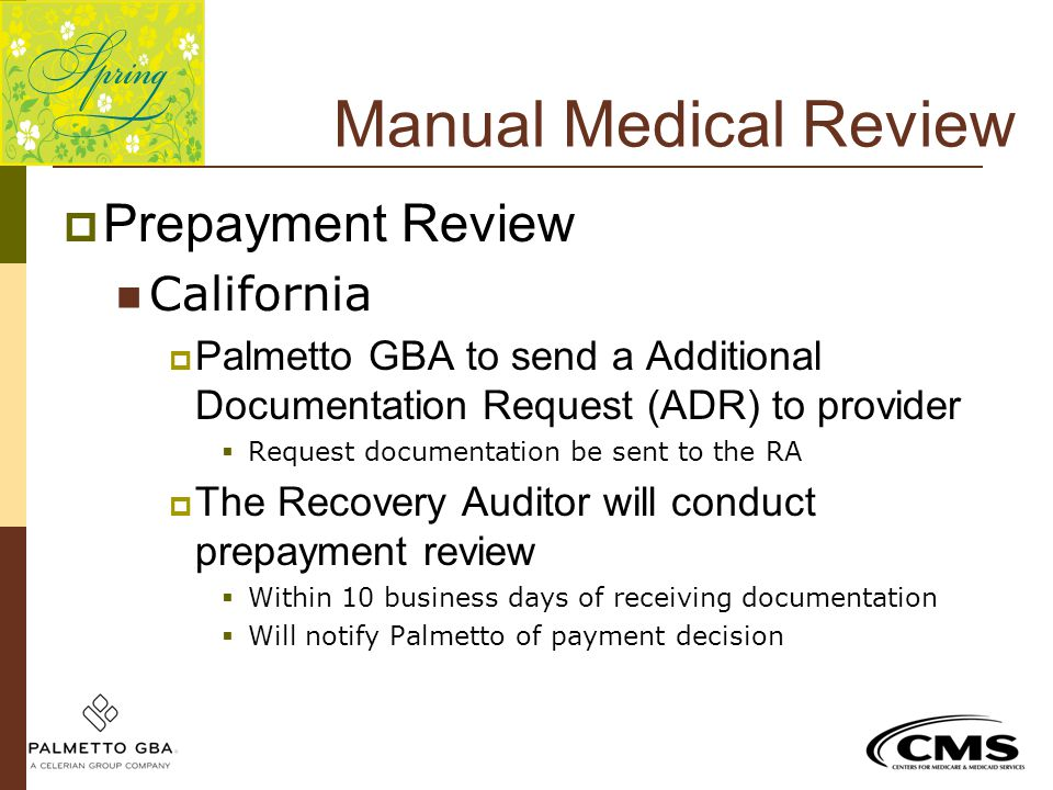Manual Medical Review Prepayment Review California