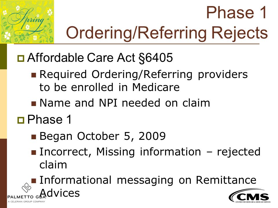 Phase 1 Ordering/Referring Rejects
