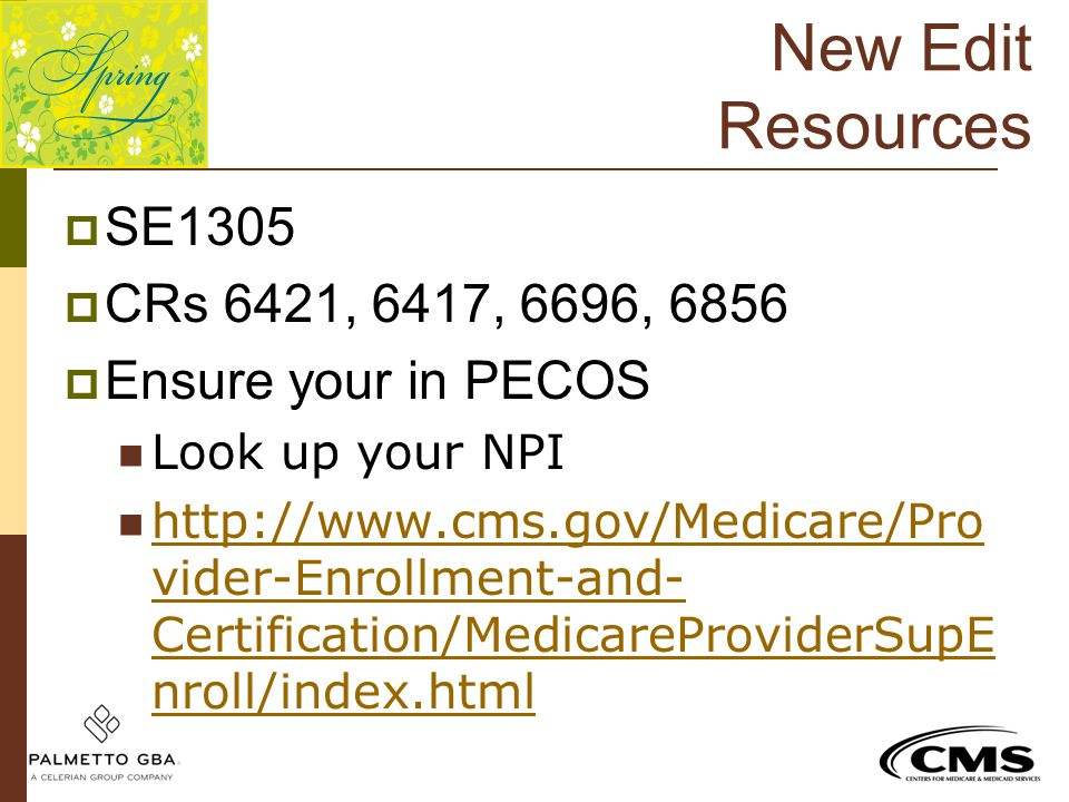 New Edit Resources SE1305 CRs 6421, 6417, 6696, 6856