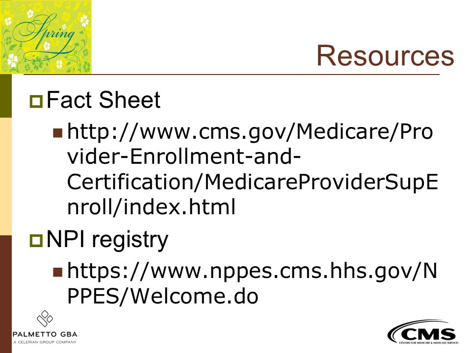 Resources Fact Sheet NPI registry