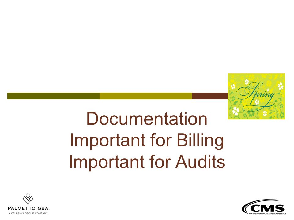 Documentation Important for Billing Important for Audits