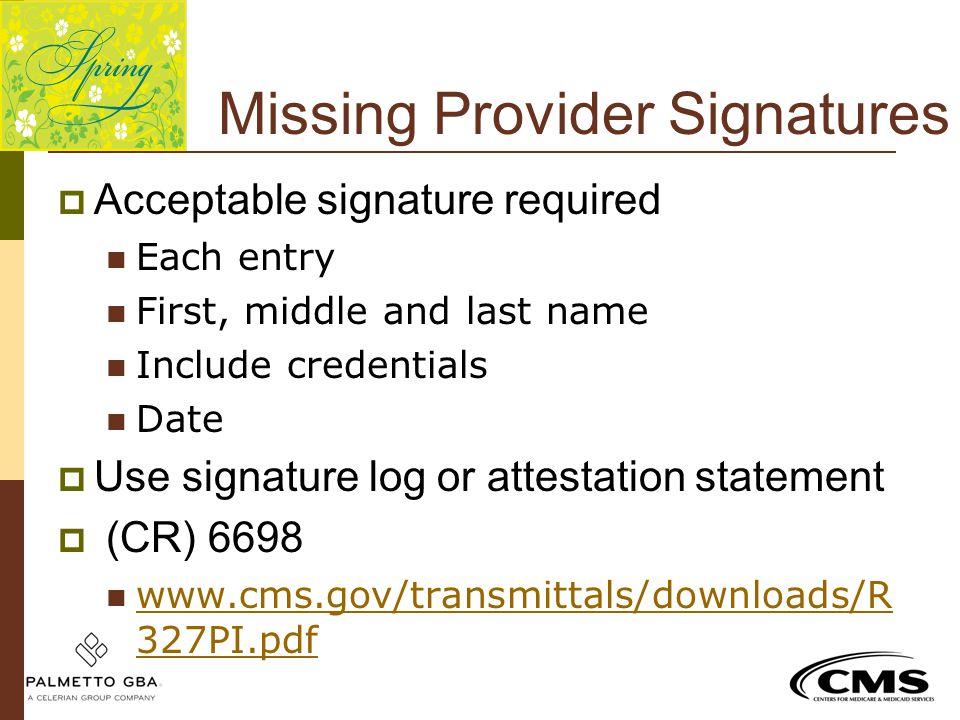 Missing Provider Signatures