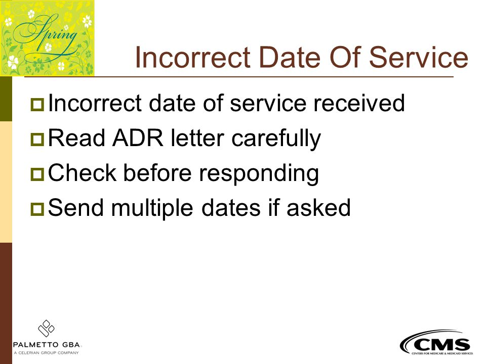 Incorrect Date Of Service