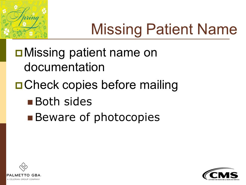 Missing Patient Name Missing patient name on documentation