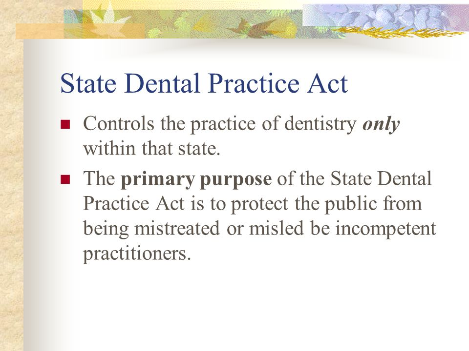 State Dental Practice Act
