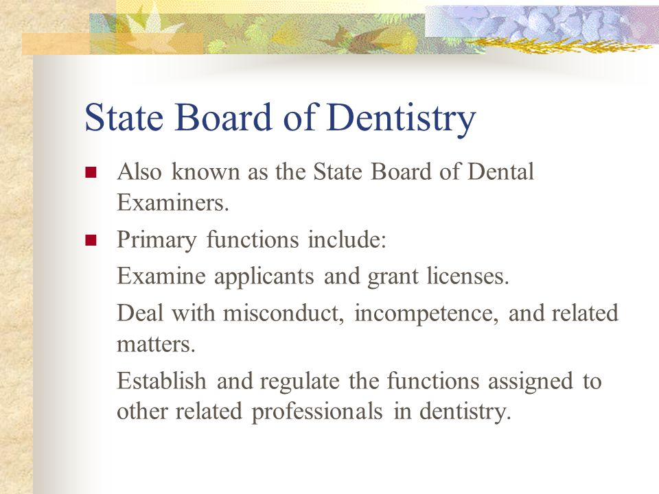 State Board of Dentistry