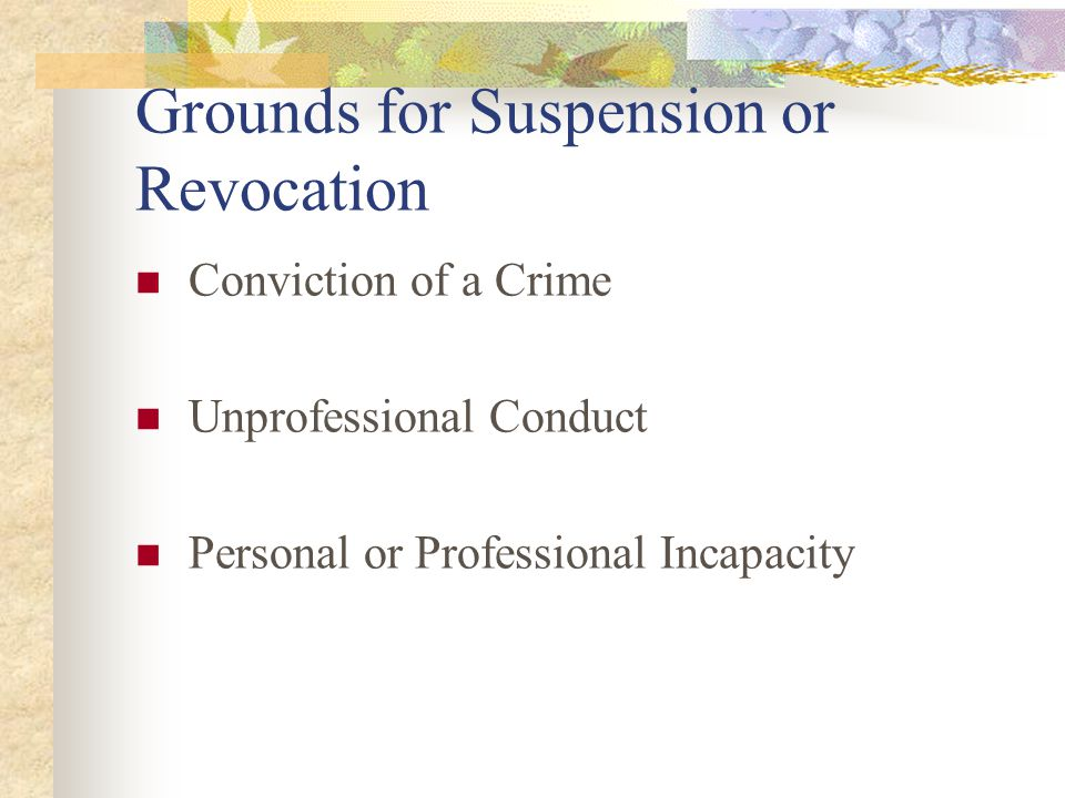 Grounds for Suspension or Revocation