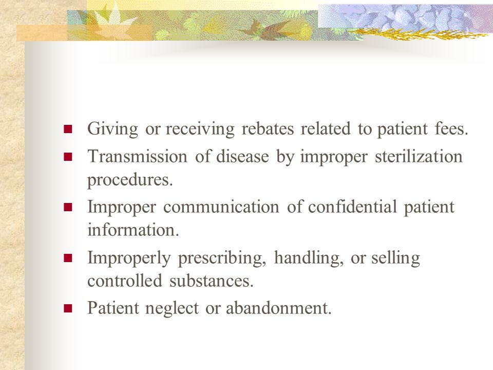 Giving or receiving rebates related to patient fees.