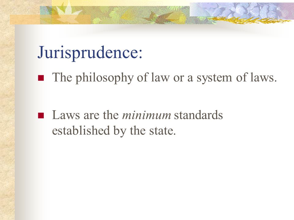 Jurisprudence: The philosophy of law or a system of laws.