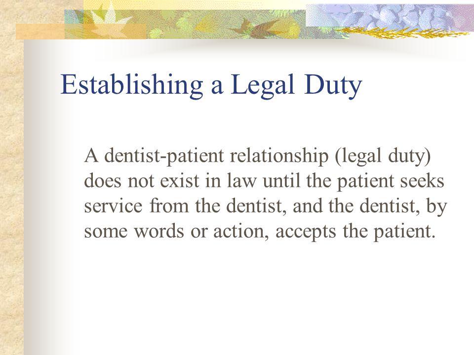 Establishing a Legal Duty